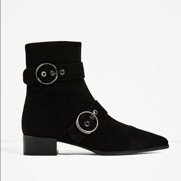 734792dfb Zara Shoes | Pointed Leather Buckle Ankle Boots | Poshmark